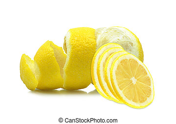 peel of a lemon on a white background