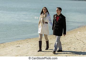 coppia, spiaggia, giovane