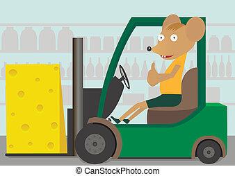 Loader with cheese - A Green Forklift Truck and mouse...