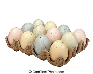 Pastel eggs in carton - assortment of pastel painted eggs in...