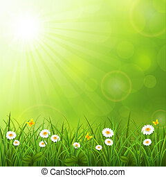Summer background with grass - Vector illustration of the...
