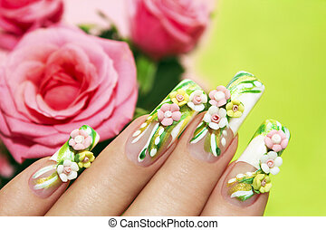 Acrylic roses - Art nail design with acrylic roses on the...
