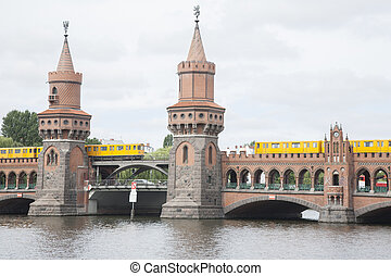 Oberbaumbrucke Bridge and River Spree, Berlin; Germany with...