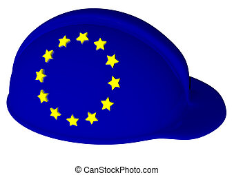 EU - a helmet with the color of EU and stars