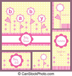 Baby shower card set - Baby girl shower, set of five cards