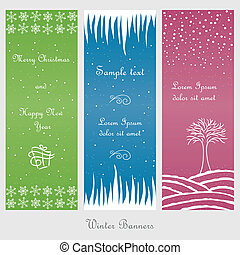Set of winter and christmas banners, doodle style