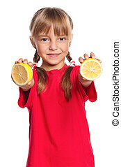 Little girl with lemon - Beautiful little girl with a lemon...