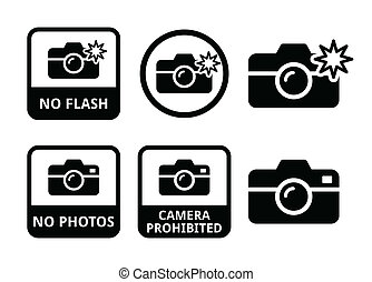 No photos, no flash cameras icons - vector icons set...