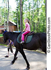 Horseback riding little girl - Horseback riding child in...