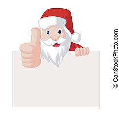 Santa Claus With Greeting Card - Vector Illustration Of...