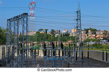Electric Power Substation - Regulators and buswork inside an...