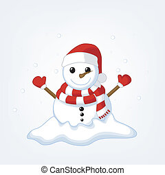 Snow Man Celebrate Christmas 2 - Vector Illustration Of Snow...