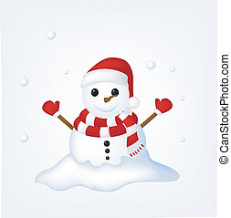 Snow Man Celebrate Christmas - Vector Illustration Of Snow...
