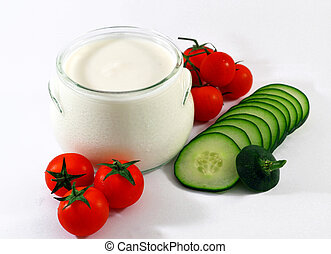 greek yogurt with tomatoes and gherkin