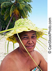 Portrait of Polynesian Pacific Island Tahitian mature female...