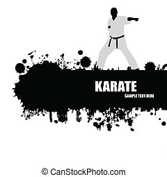 Grunge Karate poster with fighter silhouette on black and...