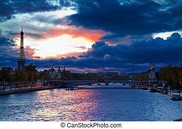 Bridge of Alexandre III and Eiffel tower at night -...