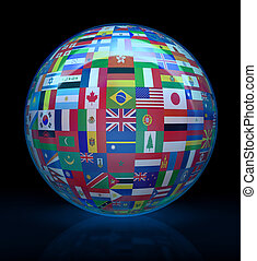 Globe - The glass globe with flags of the world