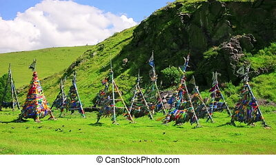 Shaman Adak Tree, prayers flag, Mongolia