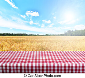 Empty table - Empty gingham table with blue sky in...