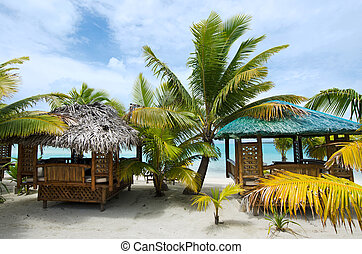 Beach bungalows on tropical pacific ocean Island - Beach...