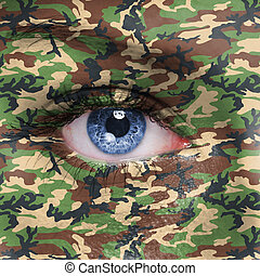 Soldier - Jungle camouflage on human face