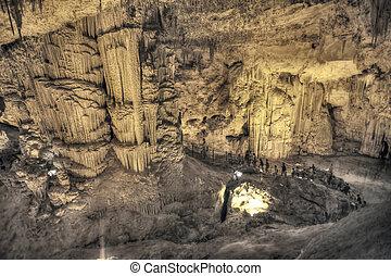 turistas, andar, stalactites, caverna, olhar, infernal