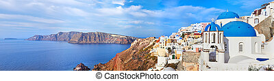 Santorini Oia - Panoramic view of Oia village on Santorini...