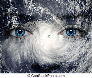 Nature background - A blue eye in the middle of a tropical...