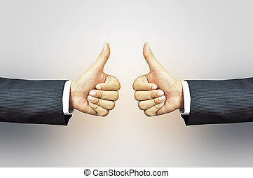 Two thumbs up - Businessman hands giving thumbs up