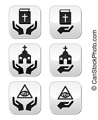 Religion buttons - hands with bible - Religious symbols with...