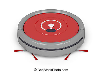 Robot vacuum cleaner on white background