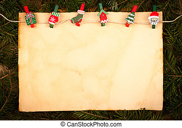 Old style paper with Christmas ornaments - Old style paper...
