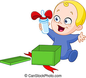 Baby with Christmas gift - Happy baby is holding a bottle he...