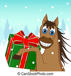 Christmas card - a funny horse with a gift