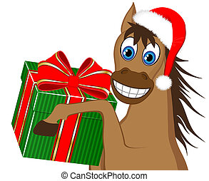 funny horse with a gift