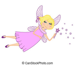 Funny little fairy with magic wand - Funny little fairy with...