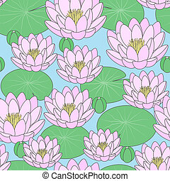 Seamless pattern - Pond with lilies, vector illustration