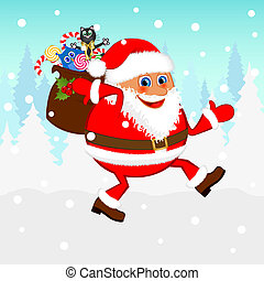 Santa Claus with a bag of gifts