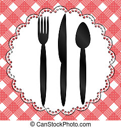 Template for menu with knife, fork