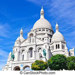 Sacre Coeur in Paris - Basilica Sacre Couer at Montmartre in...