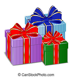 Three colorful gifts with ribbons