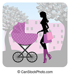 Young woman in park with stroller