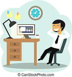 Happy office worker at the desk vector illustration