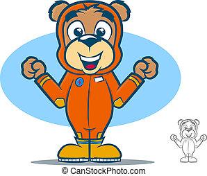Flight Suit Bear - Cute teddy bear cartoon wearing an orange...