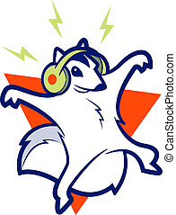 Squirrel Music - Flying Squirrel wearing headphones and...