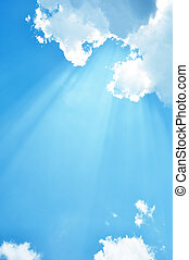 Sunlight and blue sky - Beautiful sky view with sunbeam