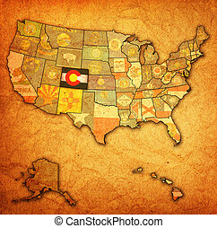 colorado on map of usa - colorado on old vintage map of usa...