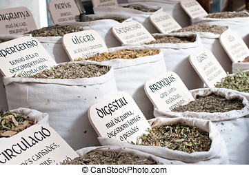 medicinal herbs in a traditional market