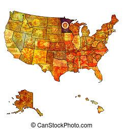 minnesota on map of usa - minnesota on old vintage map of...